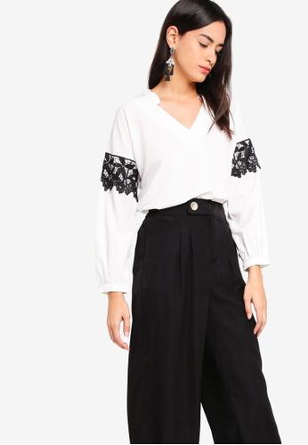 ZALORA white Lace Detailed Oversized Shirt C07BAAA9C2D654GS_1