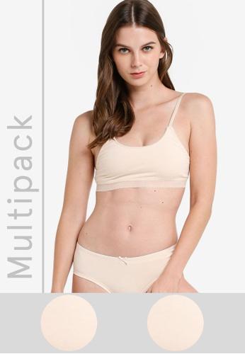 ZALORA CORE beige 2 Pack Core Women's Bralette ZA425US147E5MY_1