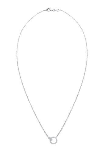 施華洛世奇水晶圓環  925 純銀項鍊, 飾esprit outlet台北品配件, 項鍊