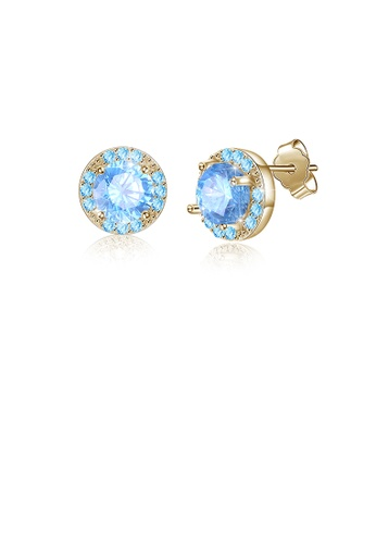 Glamorousky blue 925 Sterling Silver Elegant Plated Champagne Gold Round Stud Earrings with Blue Austrian Element Crystal A3524ACD81BFC0GS_1