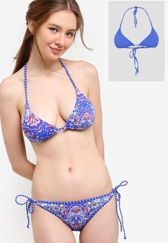 波西米亞風印花條紋可翻轉三角esprit 台北形比基尼胸罩, 服飾, 運動