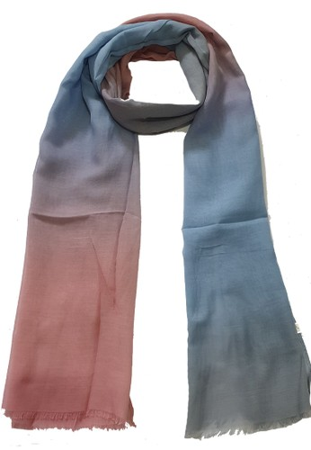 San Marco pink and blue and grey Ombre PolyCotton Scarf Grey, Dusty Pink & blue BD85FAA798AC97GS_1