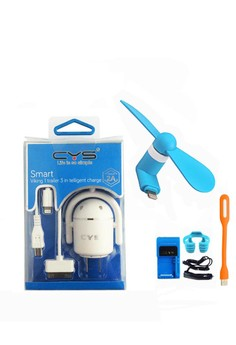 CYS 3 in 1 Charger and iP5 Mini Fan with FREE USB LED Light, OK Stand, Desktop Charger, Car Charger