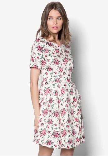 花卉印花腰飾洋裝, esprit outlet台北服飾, 洋裝