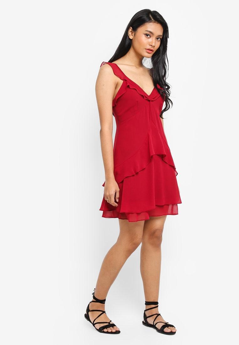 Red V Dress amp; Deep Frill Preen Dark Neck Proper P6w7Uq8