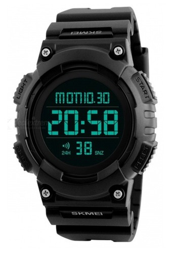 Skmei black Jam Tangan Casual Digital Pria Waterproof Stopwatch Strap Tali Material Silicon Kokoh & Ringan - TY89 ORIGINAL F1283ACF1E1826GS_1