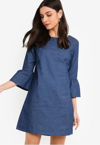 ZALORA blue Chambray Flare Sleeves Dress 5AA7BAA1DA2641GS_1
