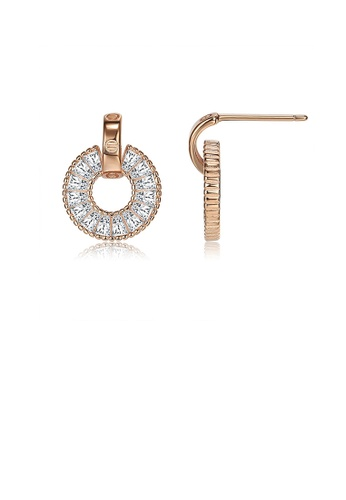 Glamorousky white 925 Sterling Silver Plated Rose Gold Elegant Geometric Round Stud Earrings with Austrian Element Crystal 18CD4AC8F7206EGS_1