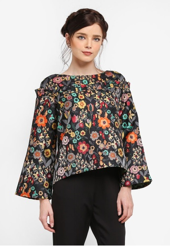 Zalia black Jacquard Frill Loose Top D0640AAED07C33GS_1