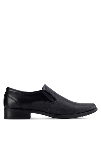 Louis Cuppers black Contrast Textured Shoes LO977SH66AZPMY_1