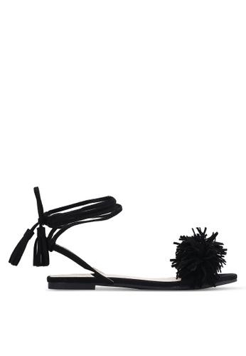 Velvet black Pom Pom Lace Up Sandals 21567SH4F83DBFGS_1