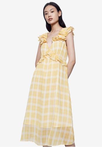 URBAN REVIVO yellow A-Line Plaid Dress BBB6FAA2B8C903GS_1