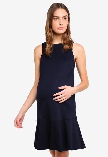 Spring Maternity navy Maternity Sleeveless Cyra Flare Hem Dress 63E6EAA623B35EGS_1