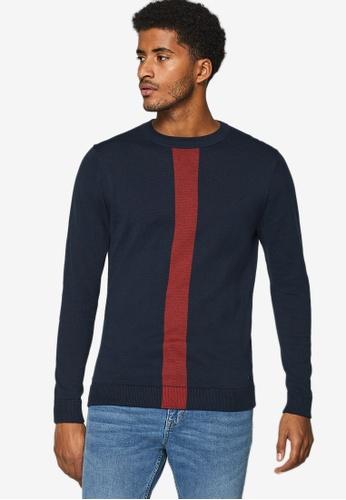 ESPRIT 海軍藍色 撞色條紋毛衣 9448BAACBB29A8GS_1