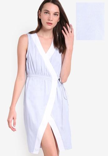 ZALORA blue Collection Shirting Wrap Dress EE8B6AA6CBAB83GS_1