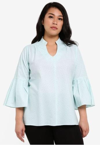 Ex'otico green Plus Size 3/4 Sleeve Mandarin Collar Blouse EX373AA0RUVDMY_1