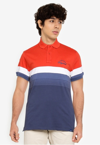 BLEND red and navy Block Stripe Polo Shirt C7C78AA130F061GS_1