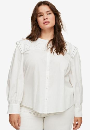 Violeta by MANGO white Plus Size Babydoll Collar Blouse AC560AAA209D4FGS_1