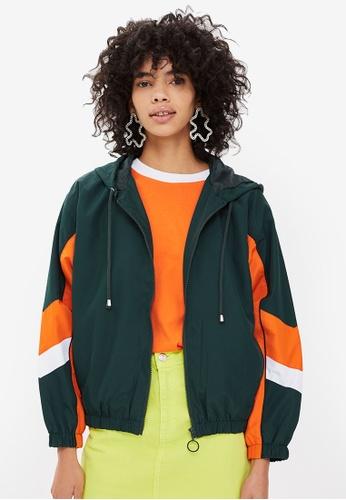 TOPSHOP green Green Windbreaker Jacket FBC93AAB08CE3AGS_1