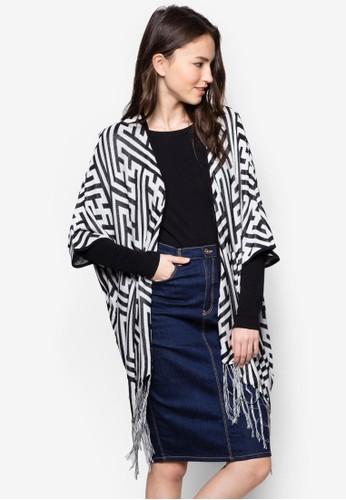 幾何印zalora 台灣花流蘇開襟外套, 服飾, 服飾
