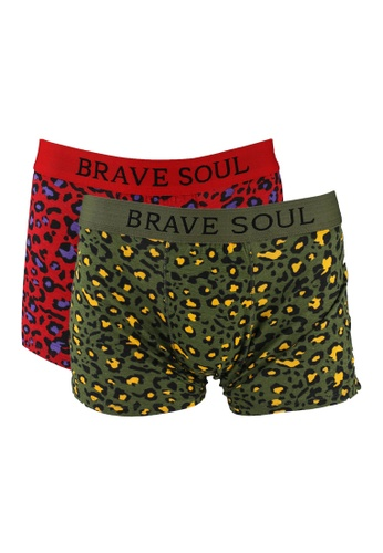 Brave Soul 紅色 Branded Antarsia Elasticated Boxers 2 Pack 9D2E1US4B01B6BGS_1
