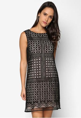 幾何蕾絲無袖A 字連身裙、 服飾、 洋裝MaxStudio幾何蕾絲無袖A字連身裙最新折價
