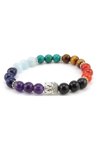 Memento Collection red and orange and yellow and green and blue and purple Buddha Detailed Chakra Bracelet ME060AC03WROMY_1