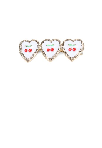 Glamorousky silver Simple and Sweet Plated Gold Cherry White Heart-shaped Hair Clip 21B95AC6A29E92GS_1