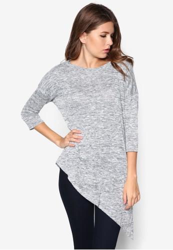 不對稱下擺七分袖上衣, 服飾, 服zalora時尚購物網的koumi koumi飾