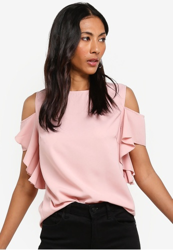 ZALORA BASICS pink Basic Cold Shoulder Ruffles Top 682A5AA39BFD91GS_1