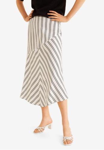Mango white Striped Midi Skirt 9193BAA55DFF73GS_1