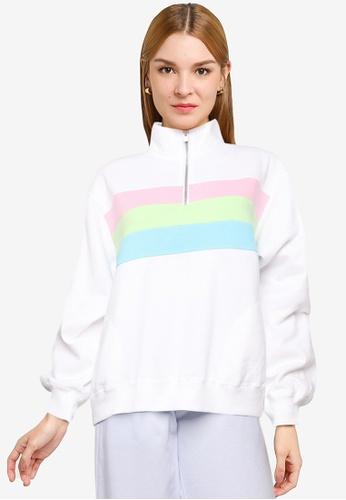 Hollister white Colorblock Half Zip Sweatshirt EA93DAAD9A5FB9GS_1