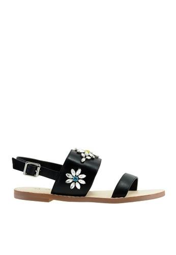 eq:iq black eqTOPAZ 2 Strap Flat Sandals EQ351SH29XQSSG_1