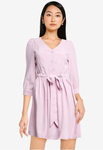 ZALORA BASICS purple Drawstring Waist Dress D0B4FAA70ADA5FGS_1