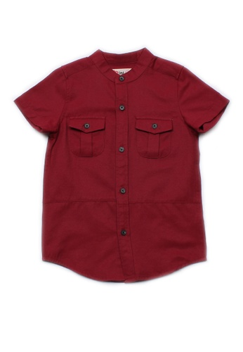 Mini Moley red Brushed Cotton Twin Pocket Short Sleeve Shirt 17F67KA05409DBGS_1