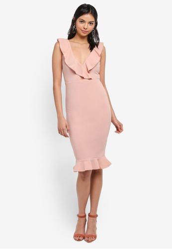 AX Paris pink V Front Frill Dress 524B5AA0A607BBGS_1