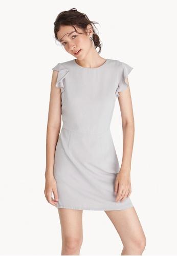 Pomelo grey Mini Ruffle Cap Sleeve Dress - Light Gray F28CDAA5F6153FGS_1