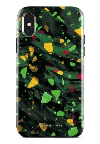 Polar Polar green Malachite Terrazzo Gem Dual-Layer Tough Case Glossy For iPhone X / XS 30432AC8B50CFCGS_1