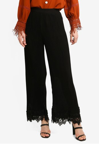 bYSI black Lace Trim Hem Trousers E8DC5AA4A9BE7AGS_1