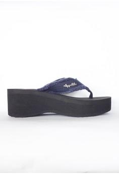 Denim Wedge Slippers