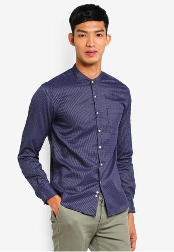 Electro Denim Lab 藍色 Dobby Mandarin Shirt 7B7A1AA0C0AEEAGS_1