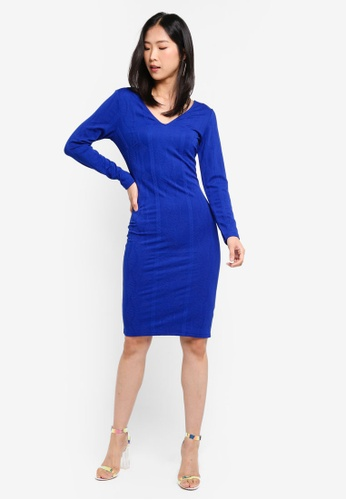 Dorothy Perkins blue Cobalt V Neck Textured Bodycon Dress 40313AA933B103GS_1