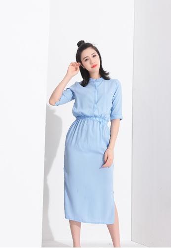 Zafiti blue Elastic Waist Side Slit Dress 6E28CAA457F0F0GS_1