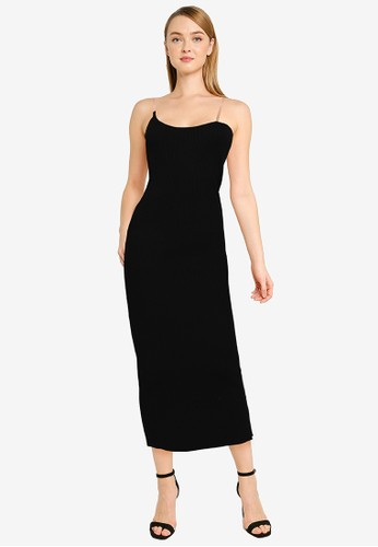 MISSGUIDED black Tall Knitted Midaxi Dress With Perspex Strap B081BAA997F38CGS_1