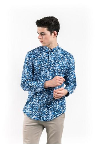 MANLY blue MANLY Boucherr Blue Slim Fit Pattern Shirt D9E03AA9D35721GS_1