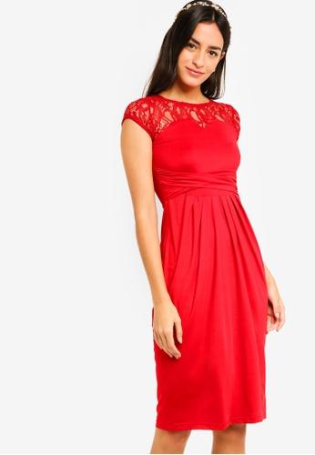 ZALORA red Bridesmaid Lace Yoke Tulip Dress AFF10AA206623FGS_1