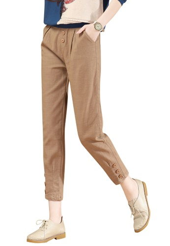 A-IN GIRLS brown Elastic Waist All-Match Casual Pants 4F517AA2EB2273GS_1