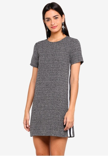 ZALORA grey Shift Dress With Side Stripe 72E59AA1EC7148GS_1