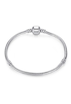 PDRH028 European Simple Lucky Bead Snake Chain DIY Bracelet (Silver Plated)