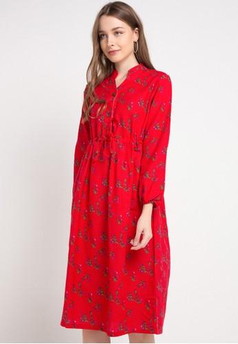 Le'Rosetz red Flare Cotton Dress 5EC21AA771E242GS_1
